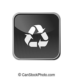 Recycling icon on a square button