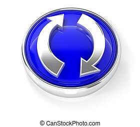 Recycling icon on glossy blue round button