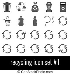 Recycling. Icon set 1. Gray icons on white background.