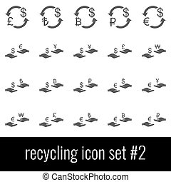 Recycling. Icon set 2. Gray icons on white background.