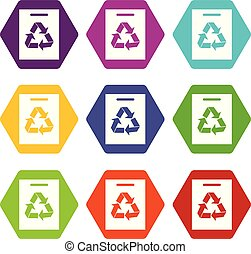 Recycling icon set color hexahedron