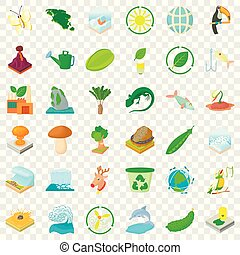 Recycling icons set, cartoon style
