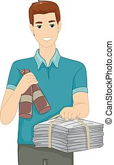 Recycling - Illustration Featuring a Man Carrying Recyclable...