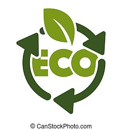 Recycling isolated icon, green leaf and eco sign