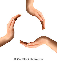 Recycling isolated symbol - Recycling symbol made from hands...