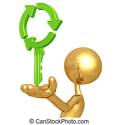 Recycling Key - 3D Concept And Presentation Figure