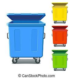 recycling, kleurrijke, bakken
