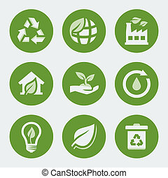 recycling, komplet, ekologia, wektor, ikony
