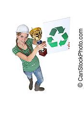 recycling., lavoratore costruzione, femmina, primo