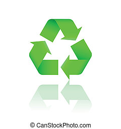 Green recycling symbol with reflection. Vector illustration.