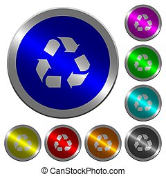 Recycling luminous coin-like round color buttons