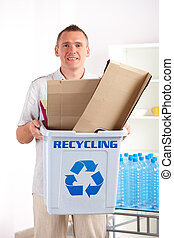 Recycling Man With Paper