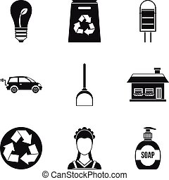 Recycling material icon set, simple style