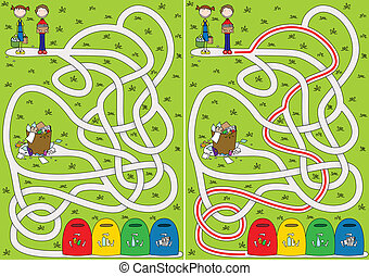 Recycling maze for kids with a solution
