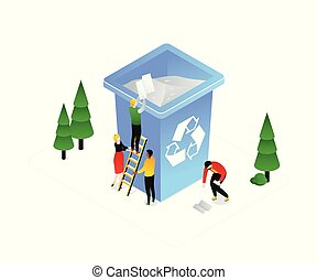 Recycling - modern colorful isometric vector illustration