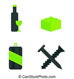 Recycling nature icons waste sorting environment creative protection symbols vector illustration.