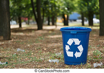 recycling., natuurlijke , restafval, kleurrijke, achtergrond., ecologie, concept., recycling, milieu, bakken, containers