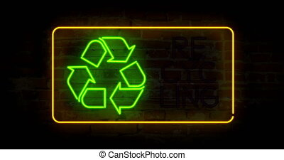 Recycling symbol in neon light stylizing animation. Abstract concept with ecology symbol and text.