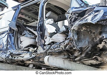 Recycling of old, used, wrecked cars. Dismantling for parts at scrap yards