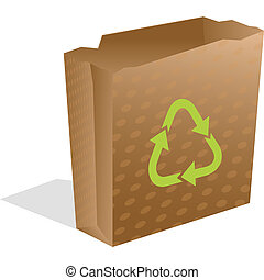 recycling paper bag isolated on white, abstract vector art...