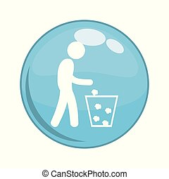 Recycling person button icon