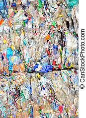 recycling - picture of recycled plastic waste pressed to...