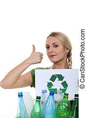 recycling, plastic flessen
