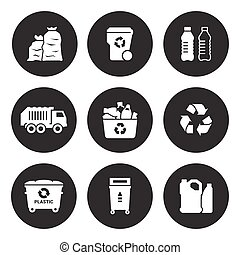 Recycling plastic icons set