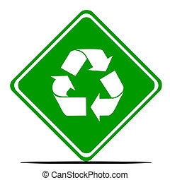 Recycling road sign - Green recycling road sign isolated on ...
