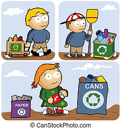 recycling set - Recycling vector illustration set - kids are...