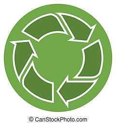 Recycling sign green - green recycling sign in circle...