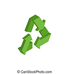 Recycling sign. Green recast symbol. Running emblem isolated