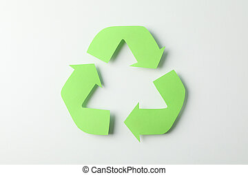 Recycling sign on white background, top view