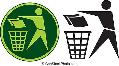 Recycling Sign (Recycling Sign Label, Recycling Sign Button...