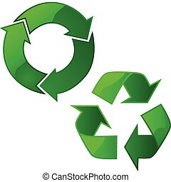Recycling signs - Illustration of two glossy recycling signs