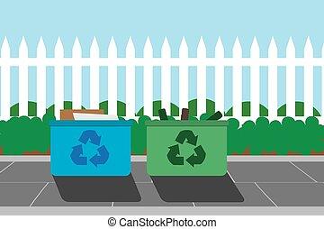 recycling, skrzynie, kerbside