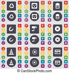 Recycling, Socket, Battery, Magnet, CCTV, Stop, Cone, Stop, Credit card icon symbol. A large set of flat, colored buttons for your design. Vector