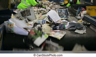 Recycling sorting - Recycling belt sorting paper from...