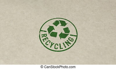 Recycling stamp and hand stamping impact animation. Recycle symbol, arrows, recyclable materials, environmental protection and earth safe 3D rendered concept.