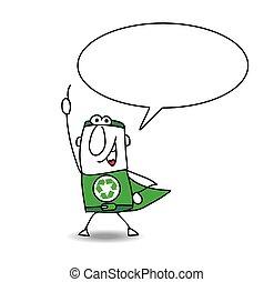 recycling, superhero, rozmawianie