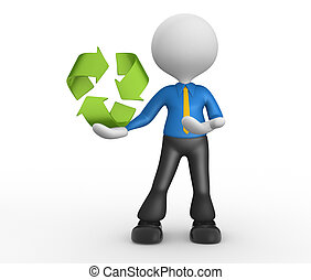 3d people - man, person pointing a recycling symbol