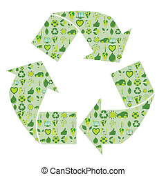 Recycling symbol filled with bio eco environmental related icons and symbols in four shades of green