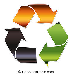 A recycling symbol illustrating different types of glass