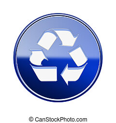 Recycling symbol glossy icon blue, isolated on white background