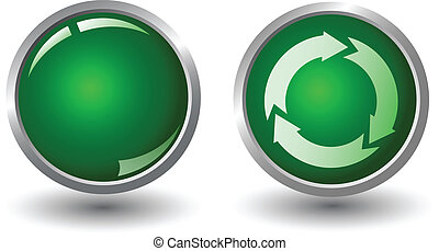 Recycling symbol icon on green button, vector