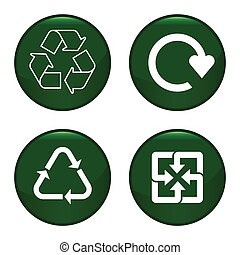 Recycling symbol icon set each individually layered