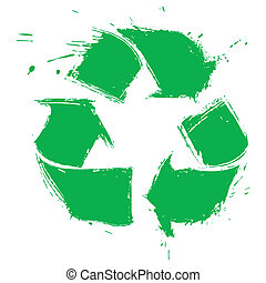 Illustration of recycling symbol created in grunge style