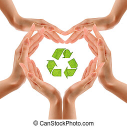 recycling symbol, na, ręka.