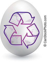Recycling symbol on easter egg