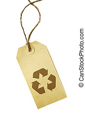 Recycling symbol on grunge paper tag, tied with brown string. Isolated on white.